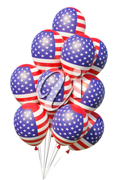 United States of America patriotic balloons with ribbons, painted with USA flag isolated on white. 4th of July USA Independence Day celebration decoration, 3D illustration.