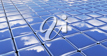 Flat glossy smooth surface made of metal shiny cubes under blue sky with white clouds, abstract blue graphic background with reflections, 3D illustration for different conceptual graphic projects.