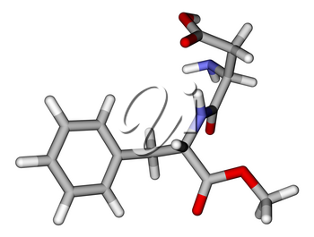 Optimized molecular structure of sweetener aspartame on a white background
