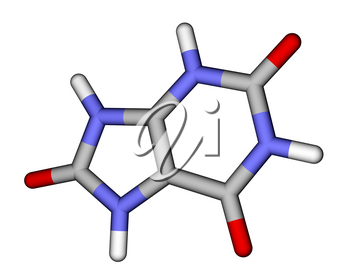 Optimized molecular structure of uric acid on a white background