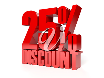 25 percent discount. Red shiny text. Concept 3D illustration.