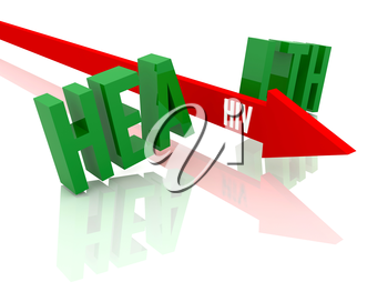 Arrow with word HIV breaks word Health. Concept 3D illustration.