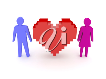 Heart with male and female figures on both sides. Concept 3D illustration.