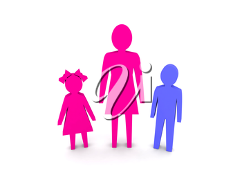 Woman with children. Single-parent family. Concept 3D illustration.