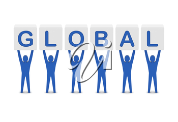Men holding the word global. Concept 3D illustration.