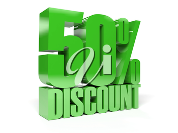 50 percent discount. Green shiny text. Concept 3D illustration.