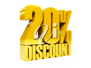 20 percent discount. Gold shiny text. Concept 3D illustration.