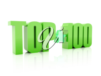 Top hundred green word  isolated on white background. 3D illustration.