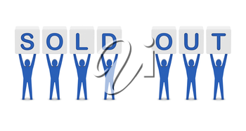 Men holding the words sold out. Concept 3D illustration.