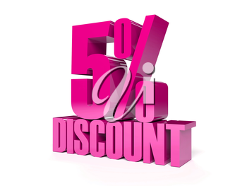 5 percent discount. Pink shiny text. Concept 3D illustration.