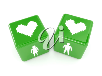 Two hearts, male and female figures on dices. Concept 3D illustration.