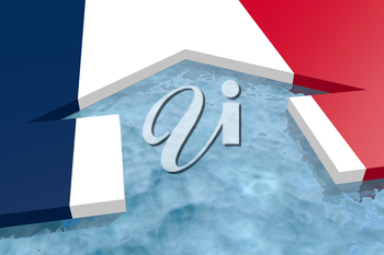 home icon in the water textured by France flag. 3D rendering