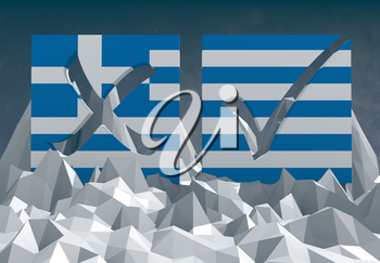 greece national flag textured vote mark on low poly landscape