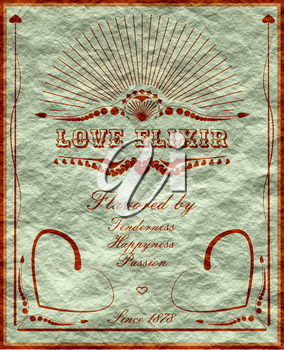 Vintage vertical banner with love drink label. Fantasy elixir label for Valentines Day fun.