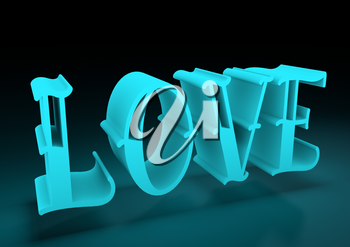 San Valentine card with neon shine LOVE word in 3D effect. Glowing letters.