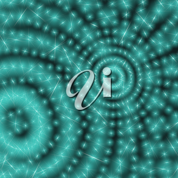Abstract techno background with circles from glowing particles. Glowing dots. Retro disco style. 3D rendering