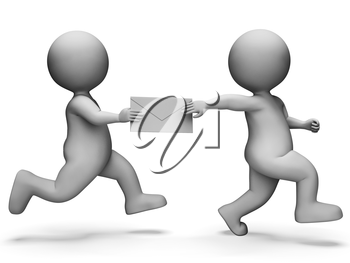 Message Characters Meaning Passing The Baton And Deliver 3d Rendering