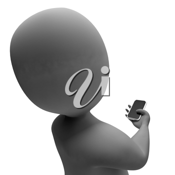 Character Smartphone Representing Call Us And Contact 3d Rendering
