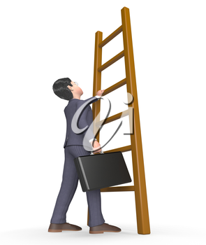 Challenge Climb Showing Business Person And Man 3d Rendering