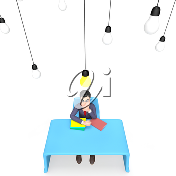 Idea Man Showing Think About It And Light Bulb 3d Rendering