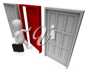 Office Choice Indicating Business Person And Doorframe 3d Rendering