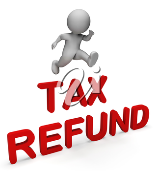 Tax Character Showing Money Back And Returned 3d Rendering