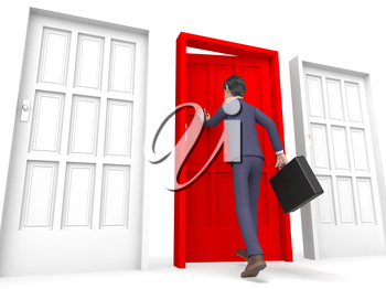 Character Businessman Indicating Entrepreneurs Render And Right 3d Rendering