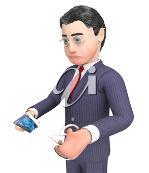 Credit Card Indicating Character Cutting And Banking 3d Rendering