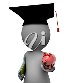 Save Education Indicating Piggy Bank And Man 3d Rendering