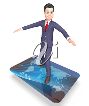Credit Card Indicating Business Person And Indebtedness 3d Rendering