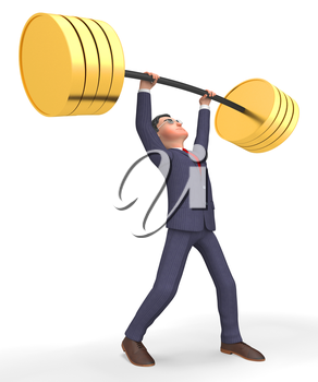 Weight Lifting Meaning Working Out And Businessman 3d Rendering