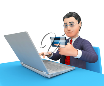 Credit Card Showing World Wide Web And Business Person 3d Rendering