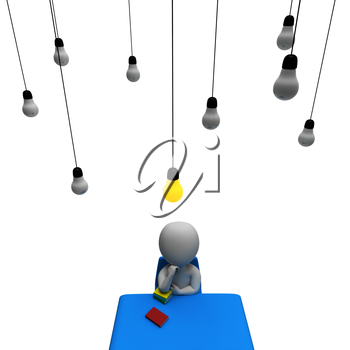Lightbulb Man Showing Think About It And Power Source 3d Rendering