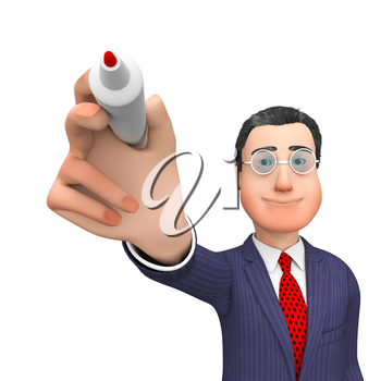 Businessman Character Showing Entrepreneurs Communicate And Scribe 3d Rendering