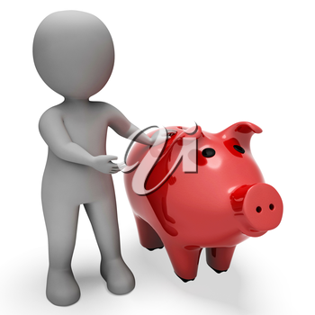 Character Savings Meaning Piggy Bank And Finance 3d Rendering