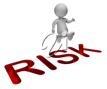 Risk Overcome Meaning Hard Times And Difficult 3d Rendering
