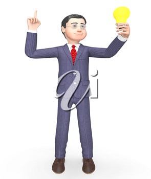 Idea Character Showing Light Bulb And Think 3d Rendering