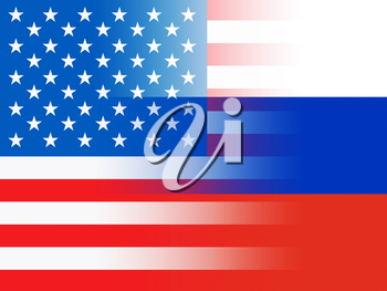 United States And Russian Flags Combined Representing Hacking