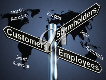 Customers Employees Shareholders Signpost Shows Company 3d Illustration