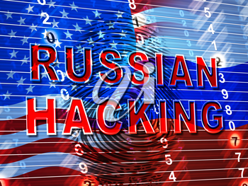 Russian Hacking Election Attack Alert 3d Illustration Shows Spying And Data Breach Online. Digital Hacker Protection Against Moscow To Protect Democracy Against Malicious Spy