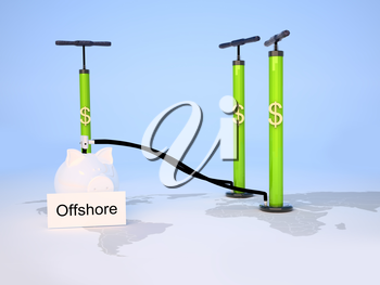 Offshore banking concept with piggy bank, pumps on map of the world.