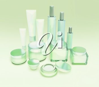 Daily, beauty care cosmetic. Face cream, eye cream, serum and lip balm. Skin care.