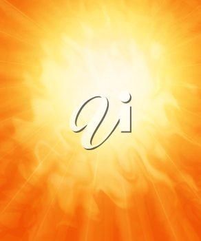 Sun, fiery abstract background.