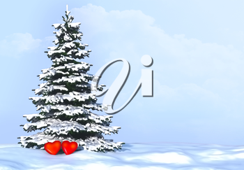Background with snowy fir tree and hearts  in love.