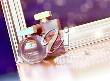 Two perfume bottles, gold frame and jewelry on black background with reflection.