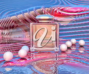 Perfume in a glass bottles and pearl beeds on a color background.