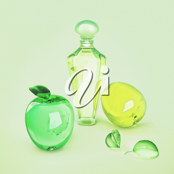 The composition of the various  fruit shape and perfume  on a green background.
