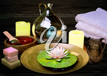 Composition of spa treatment, candles, lotus in bowl with water on wooden background.