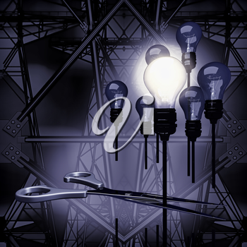 A light bulb that stable and glowing among the others, scissors and silhouette electricity post.