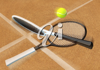 Tennis; racket; tennis clay court